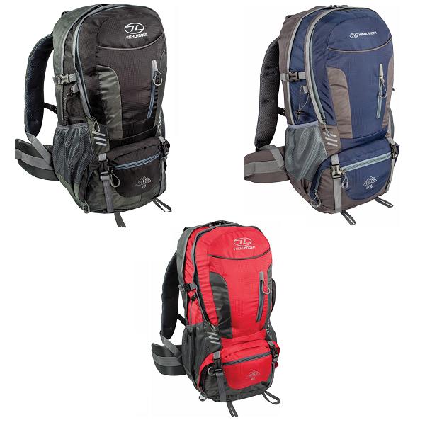 6178c37be67 Highlander Hiker 40 Liter Backpack |Zwart/Rood/Blauw/